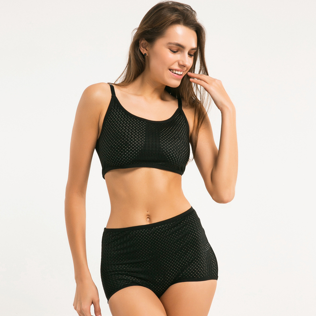 Missomo 2017 New Fashion Women Black Sexy Push Up Adjustable Straps Bralette Nets Underwear Soft Trim Breathable Panties Bra Set
