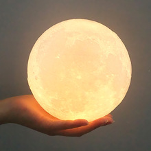 3D Print Moon Lamp 20cm 18cm 15cm 12cm 10cm 8cm White Warm 2 Colors Touch USB Led Night Light Home Decor Creative Gift