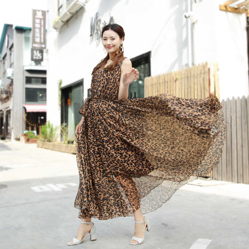 Sexy Leopard Print Chiffon Long Maxi Dress Free And Loose Beach Wedding Guest V Neck Long Flowy Dress Plus Size Available