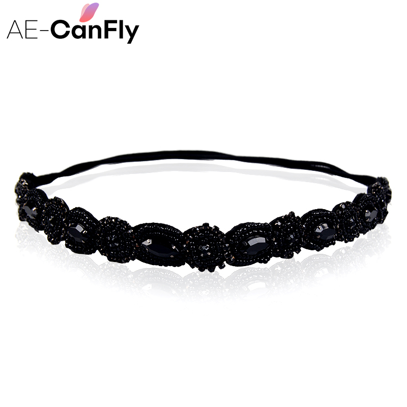 AE-CANFLY Vintage Black Queen Shiny Crystal Beads Elastic Headband Women Hair Accessorie 1H5004