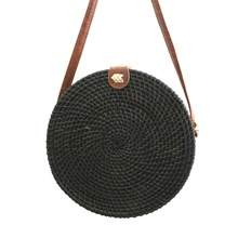 2019 new round leather buckle womens shoulder bag bohemian straw beach chic color handmade rattan ins with Bali