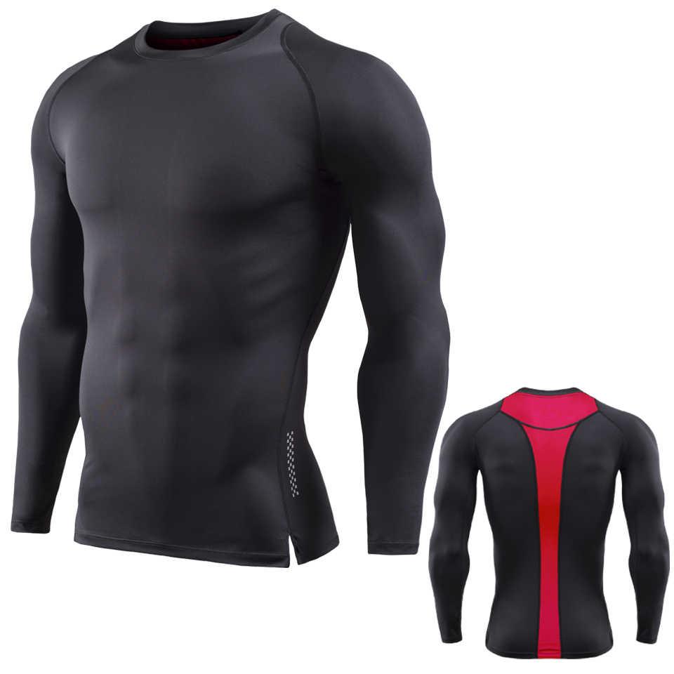Męska sportowa koszulka warstwa bazowa siłownia z długim rękawem T Shirt mężczyźni Sport treningu koszulka s Rashguard mężczyźni kulturystyka szybkie suche tee topy