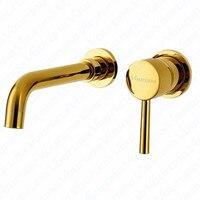 VOURUNA Золотой Настенные Ванная комната кран Смесители бассейна набор в стене твердая латунь