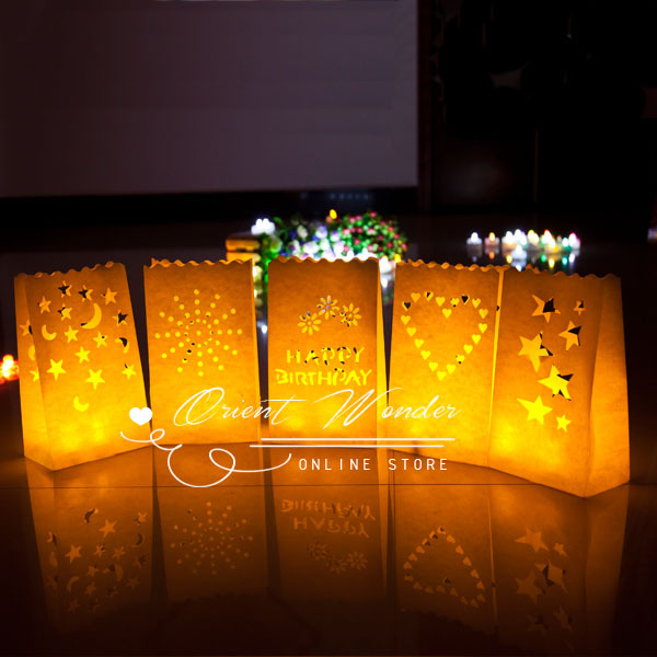 400pcs Heart Candle Paper lantern Bag, luminary tealight holder Paper Bag  for Wedding Party Event - 400pcs Heart Candle Paper Lantern Bag, Luminary Tealight Holder