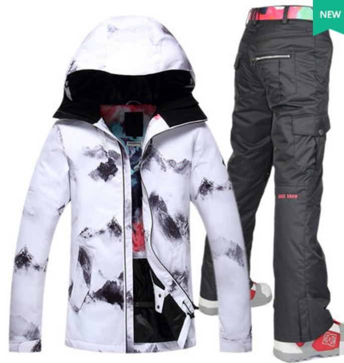 Women white black ski suit female white skateboarding riding skiing jacket with colorful skiing pants ski suit skating snow suitWomen white black ski suit female white skateboarding riding skiing jacket with colorful skiing pants ski suit skating snow suit