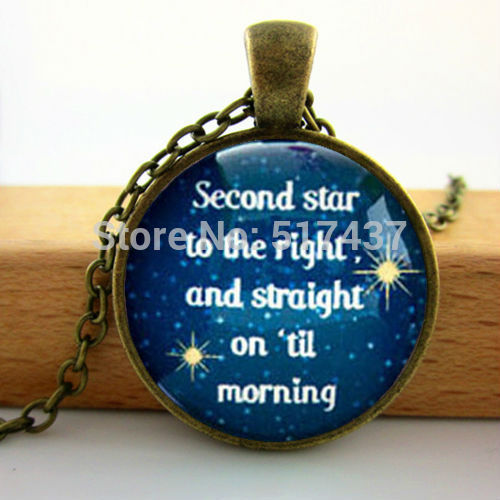Wholesale Fashion Glass Cabochon Dome Jewelry Peter Pan Quote Necklace Peter Pan Jewelry Man Fashion Brozen Pendant Necklace