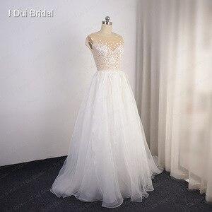 Image 5 - Cap Sleeve Sparkle düğün elbisesi organze Ruffles Illusion boyun çizgisi parlak gelin kıyafeti