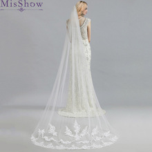Real photo White/Ivory 3M Cathedral Length Lace Edge Bridal Head Veil With Comb New Long Wedding Accessories velos de novia