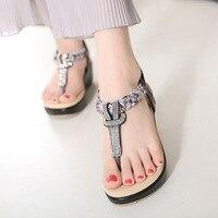 Women Wedge Sandals Casual Sweet Summer Bohemian Rhinestone Platform Gladiator Sandals Plus Size Ladies Beach Flip
