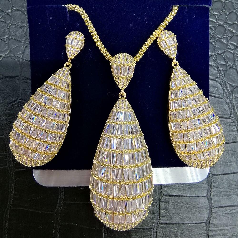 GODKI Luxury Water Drop Cubic Zircon Nigerian Necklace Earring Jewelry Sets For Women Wedding Indian Dubai