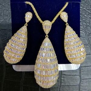 Image 3 - GODKI יוקרה מים זרוק מעוקב זירקון ניגרי שרשרת עגיל נשים חתונה הודי דובאי כלה תכשיטי סטים