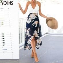 YOINS Новый 2017 Женщины Sexy V-образным Вырезом Спинки Кружева Cami Dress Мода Wrap Перед Цветочным Принтом Шифон Maxi Dress Vestidos