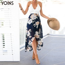 YOINS New 2017 Women Sexy V-neck Backless Lace Cami Dress Fashion Wrap Front Floral Print Chiffon Maxi Dress Vestidos