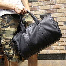 Men's Fashion PU Leather Travel Tote Bag