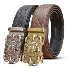 2019 New Mens Belts cowhide fashion wide designer belt Genuine Leather Black Automatic Buckle Cowboy Ratchet Belt Free Shipping