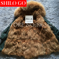 2016 New Women Winter Army Green & Black Thick Parkas Plus Size Real Raccoon Canada Gold Wolf Fur Collar Hooded Out wear coat