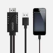 Onten HDMI Dönüştürücü Yıldırım için HDMI kablosu Adaptörü USB HDMI TV için Dijital AV Adaptörü iPhone X 8 7 6 S 5 iPad Pro Hava