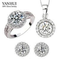 YANHUI Brand 925 Sterling Silver Wedding Dress Jewelry Sets Luxury CZ Diamond Pendant Necklace Earrings Ring