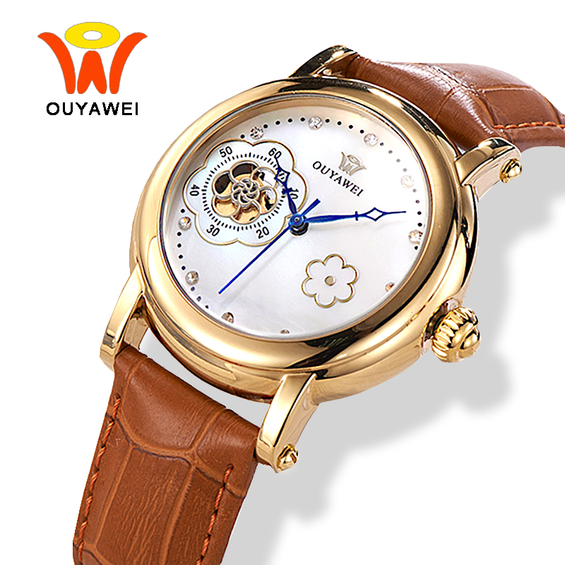OUYAWEI Skeleton Automatic Watch Women 2017 Fashion Mechanical Luxury Gold Case Brown Leather Wrist Watches Fashion
