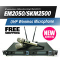 Free shipping! EM2050/SKM2500 Professional UHF Wireless Microphone Monitor System with Dual Handheld Transmitter Microfone Mike