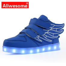 Kids LED Shoes with Wing Light Up Sneakers Led Children Charging Luminous Glowing Flat Toddler