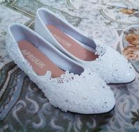 Wedges 3cm heel white lace wedding shoes woman fashion new design round toes slip on woman's brides brdial low wedged heel shoes