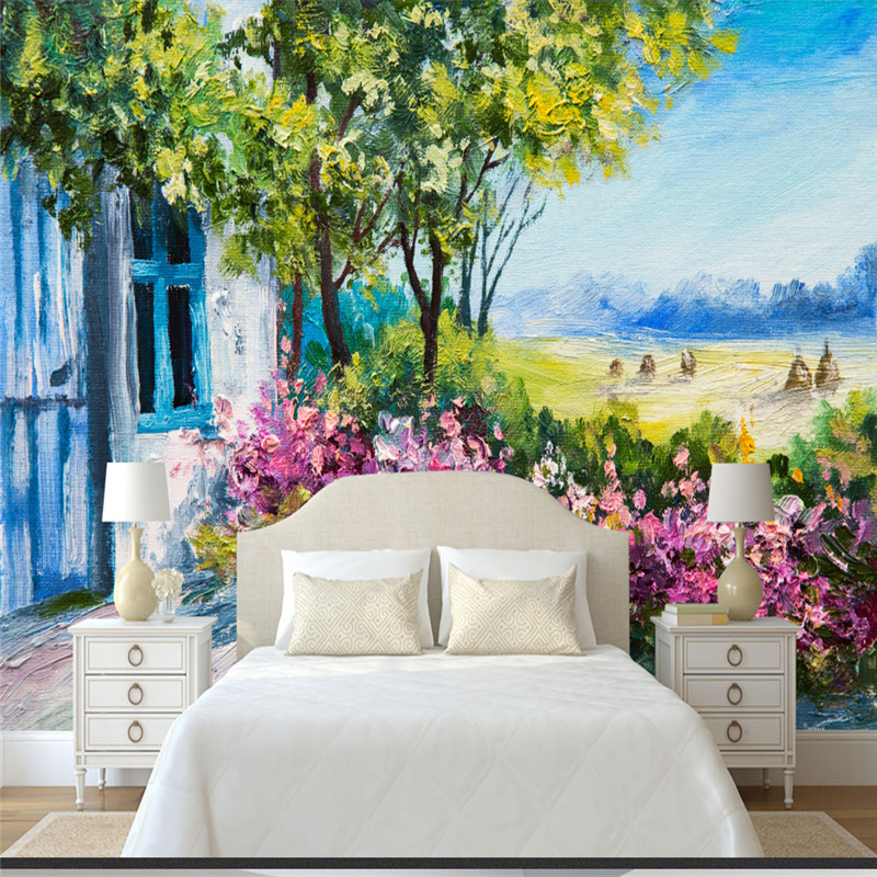 Hand-painted Flowers Leaf Murals Vintage Oil Painting 3D Wallpapers Country Scenery Town Walls Papers for Living Room Home Decor hua tuo landscapes hand painted oil painting