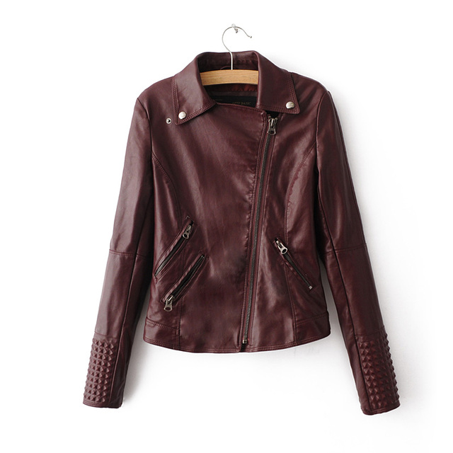2017 New Women Leather Jacket  Motorcycle Style