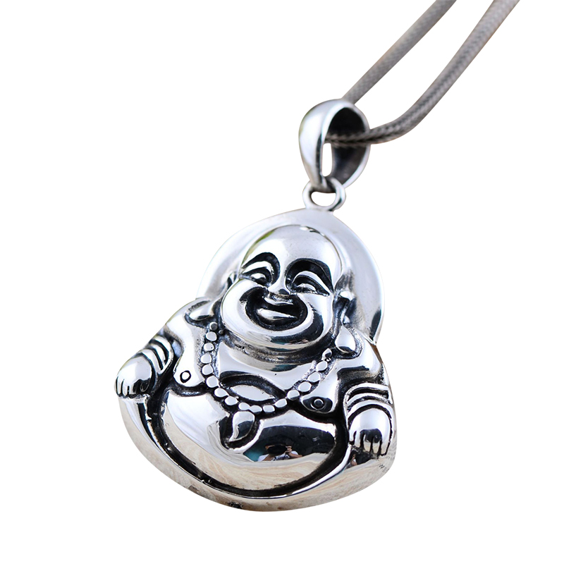Vintage Real 925 Sterling Silver Jewelry Thai Maitreya Matte Laughing Buddha Pendant For Men And Women Bless Safely And Smoothly 925 silver jewelry retro yaguang buddha joker sweater chain pendant thai men and women old grind arenaceous silver pendant