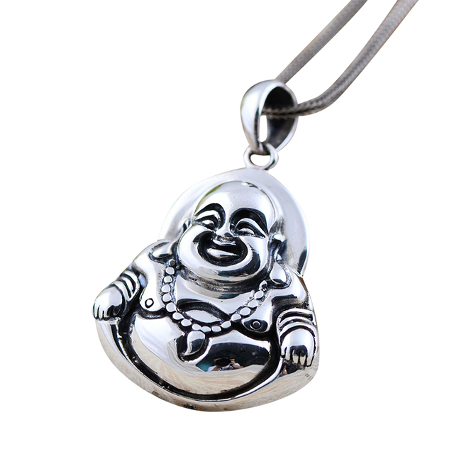 Vintage real 925 sterling silver jewelry thai maitreya matte vintage real 925 sterling silver jewelry thai maitreya matte laughing buddha pendant for men and women aloadofball Image collections