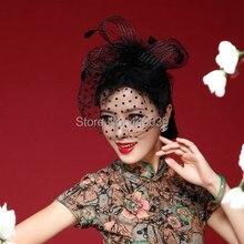 Linda Gaiola preta flor nupcial do casamento da noiva Fascinador Chapéus véus(China (Mainland))