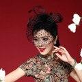 Fw12 красивый черный / белый / красный / розовый / фиолетовый клетка цветочные перья чародей невесты свадебные шляпы лицо вуали