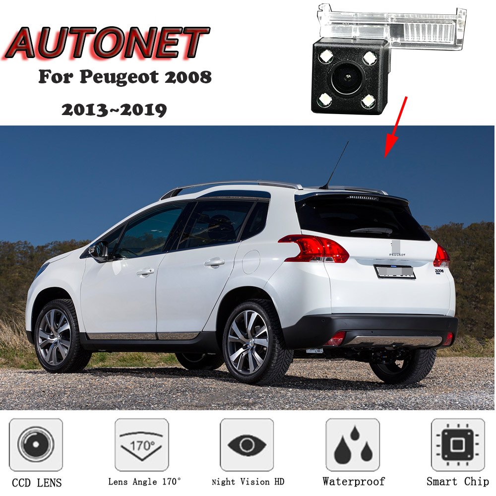 AUTONET HD Night Vision Backup Rear View Camera For Peugeot 2008 2013 2014 2015 2016 2017 2018Original Hole/license Plate Camera