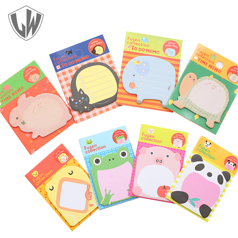 Animal Note Sticker Cage Cute Kawaii Sticky Notes Post It Memo Pad School Supplies