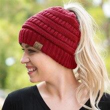 2017 Fashion CC Warm Winter Hat For Women Ponytail Beanie Stretch Cable Knit Messy Bun Hats Ski Cap Wholesale Hip-Hop Skullies