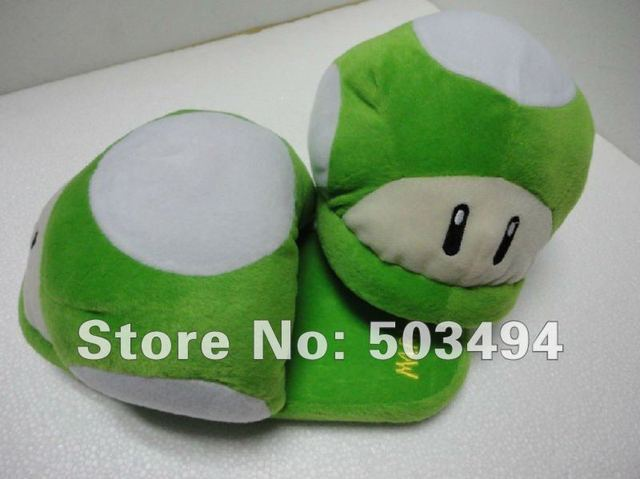 Free shipping EMS Super Mario Brothers Green Toad Mushroom plush Slipper Super Mario Brothers Green Toad Mushroom Plush