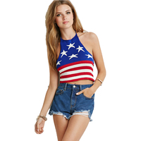 Knitted Cami Strap Top Women Sexy Flag Printed Backless Short Crop Top Fashion Bodycon Lady Halter