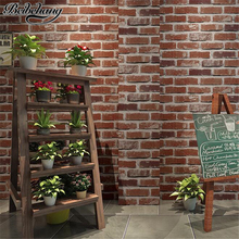beibehang Retro Nostalgic 3D Stereo Facing Brick Wall paper Bar Cafe Hotel Living Room Red Brick Wallpaper Papel de Parede beibehang retro rock block papel de parede 3d brick wall paper vintage stone pattern wallpaper roll for living room wallcovering
