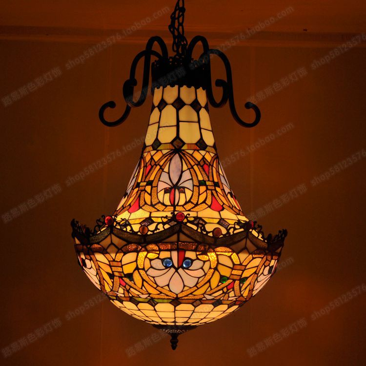 Free Shipping Tiffany Chandelier Bars And Clubs Neo American Models Retro Nostalgia Glass Staircase Lighting Fixtures In Pendant Lights From