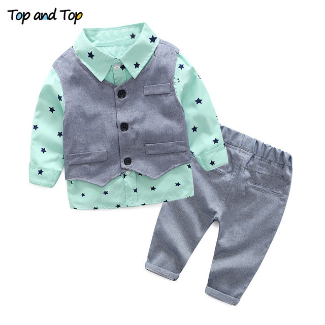 bb216dc7f598 Top and top spring autumn baby boy clothing sets gentleman baby boy ...