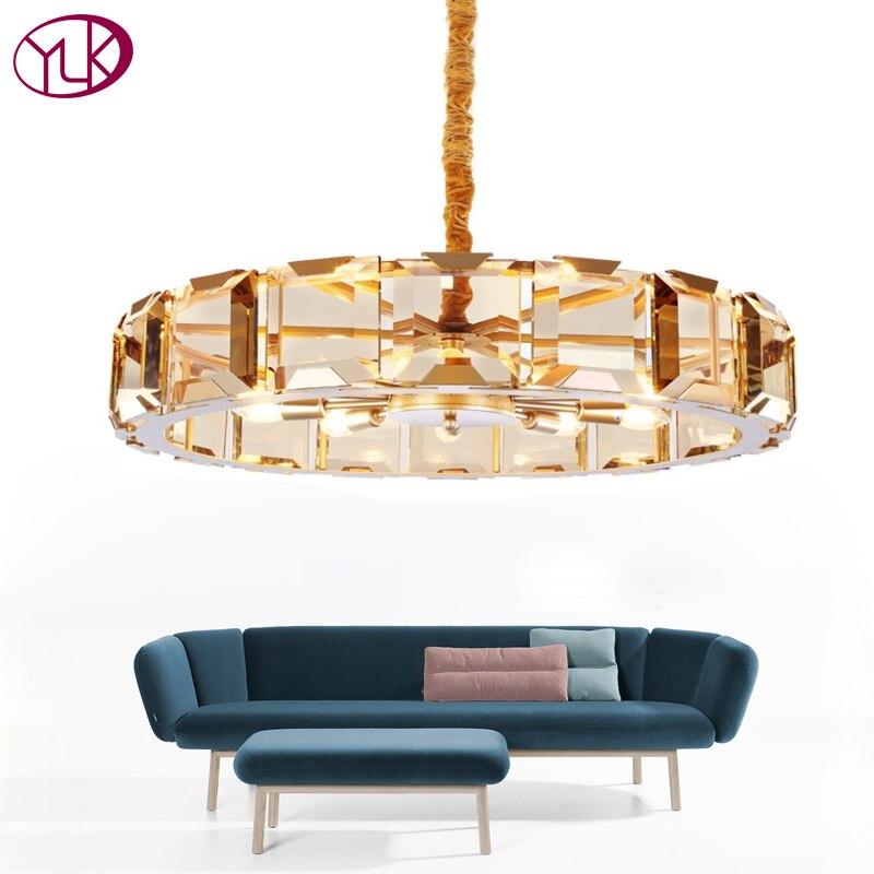 Youlaike Lusso Moderno Lampadario Di Cristallo Per Soggiorno di Alta Qualità Oro Hang Light Fixtures Rotonda LED Lustri De Cristal