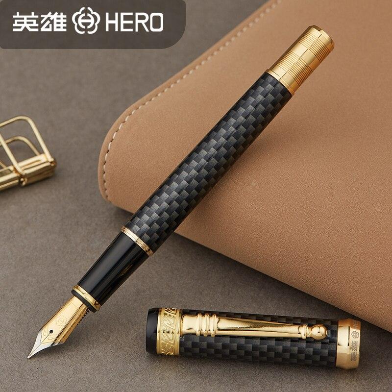 Authentique Hero 768 stylo à encre en fibre de carbone en métal 0.5mm avec plume dorée pour un cadeau