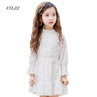 Ftlzz Cotton Lace Girl Dress Kids 2018 Summer Spring New Children Clothes White Pink Lace Princess