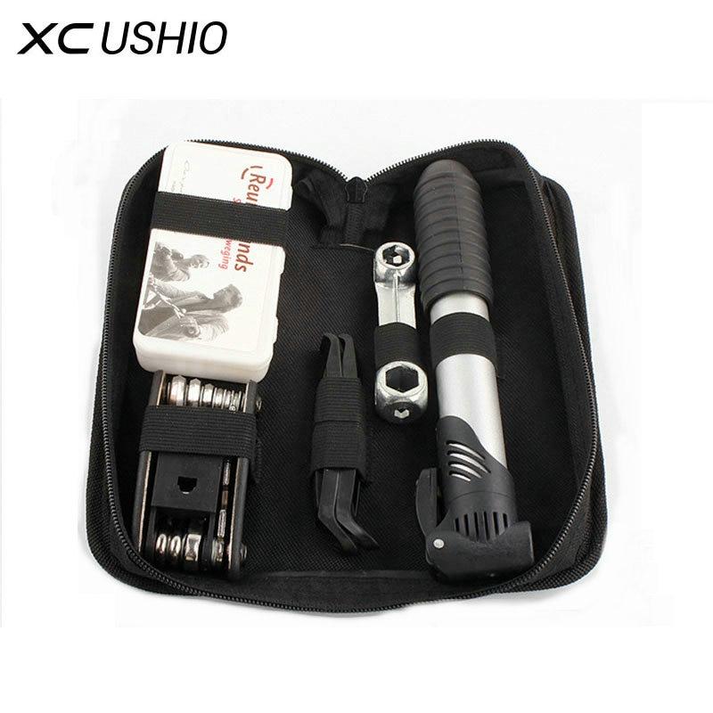 Mountain Bike Bicycle Repair Tools Mini Pump/ Type Repair Kit/ Screwdriver Tool Wrench Portable Cycling Tool Set with Carry Bag