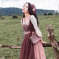 2018 Autumn Women Dress Vintage plaid patchwork dresses Retro Swing hem Midi Elegant Vestidos