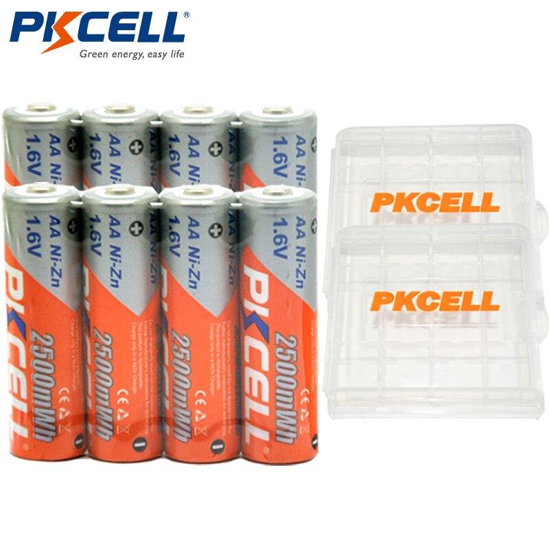 8Pcs/PKCELL NIZN 1.6V 2500MWH AA Rechargeable Battery 2A Batteries Baterias Bateria and 2Pcs Battery Hold Case Box free shipping 4pcs aa nizn 1 6v 2500mwh high voltage rechargeable battery hot sale 3 5 hour fast charger