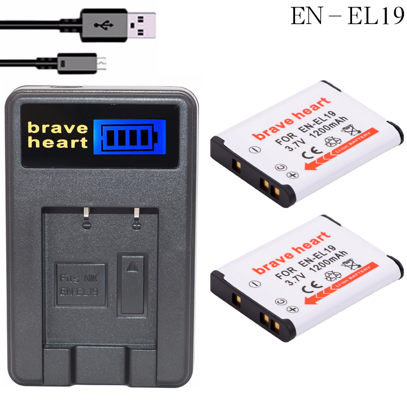 2 ENEL19 EN-EL19 Battery +LCD Charger for Nikon Coolpix S32 S33 S100 S2500 S2750 S3100 S3200 S3300 S3400 S3500 S4100 image