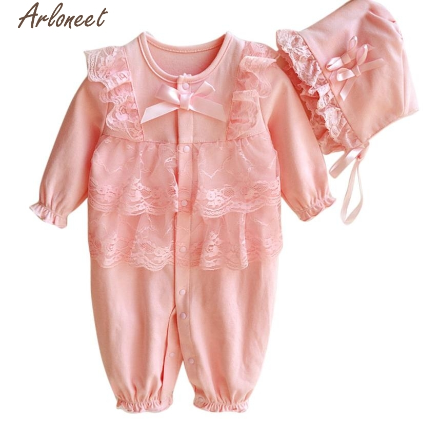 Christmas Pajamas Dress For Baby Girls Newborn Infant Baby Kids Girls Cap Hat+Lace Romper Jumpsuit Clothing Set Outfit Pink &