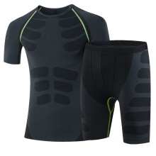 Summer Running Sets Men Sport Suit Compression Shirt Fitness Shorts Male Running Gym Training Sport Suit Plus Size Sport Tights
