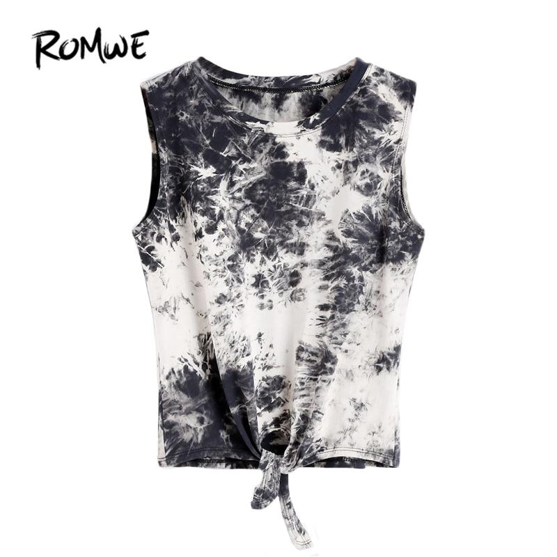 ROMWE Summer Beach Rock Party Tank Women Sleeveless Top Women Multicolor Round Neck Sleeveless Tie Dye Knot Front